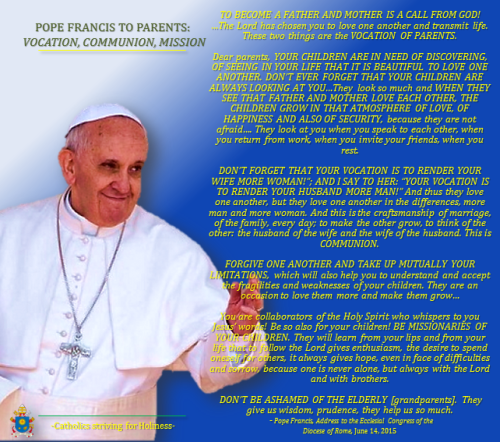 Pope Francis to parents