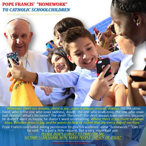Pope with US Catholic schoolchildren