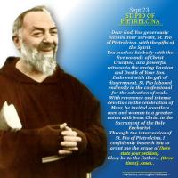 Sept. 23:  HAPPY FEAST DAY OF ST. PIO PIETRELCINA! Prayer card and Spiritual maxims