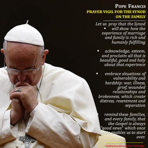 Pope Francis Vigil prayer Synod