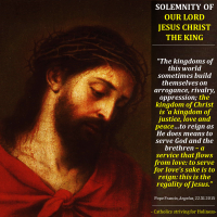 POPE FRANCIS  ON THE SOLEMNITY OF JESUS CHRIST, KING OF THE UNIVERSE