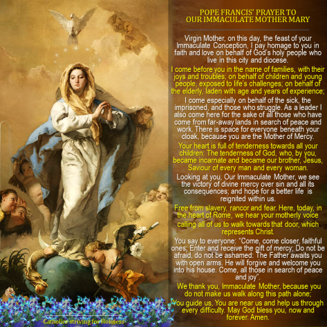 Immaculate Conception- Prayer of Pope Francis 2015