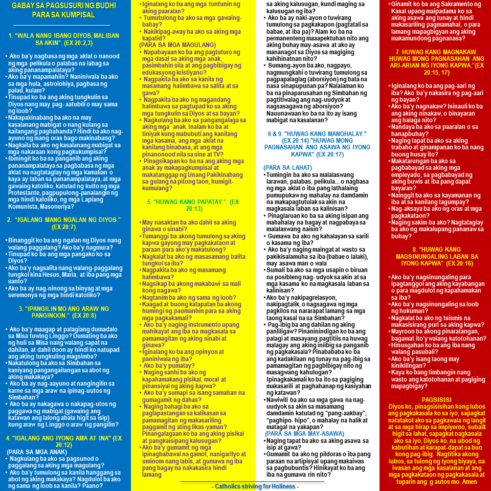 Examination of Conscience in Tagalog