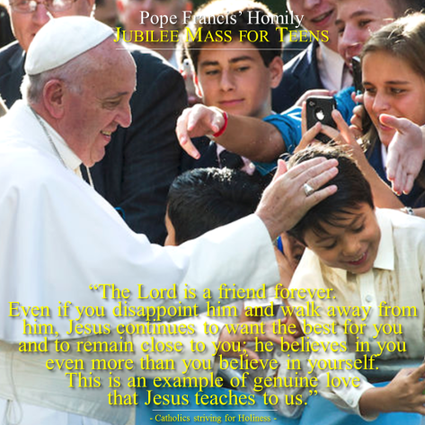 Pope Francis. Jubille Mass for teens