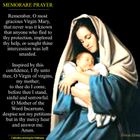 """MEMORARE"" (REMEMBER) PRAYER TO OUR LADY."