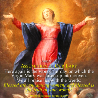 August 15: SOLEMNITY OF THE ASSUMPTION OF VIRGIN MARY.  Your body is holy and glorious.