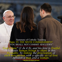 "Summary of Catholic Teaching. Topic 35: SIXTH COMMANDMENT ""You shall not commit adultery.""  Man's vocation to chastity is an essential part and condition of his vocation to love."