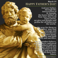 Mar. 19: HAPPY FATHER'S DAY (some countries)! PRAYER FOR ALL FATHERS.