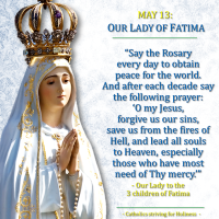 MAY 13: OUR LADY OF FATIMA MESSAGE (2). SAY THE ROSARY DAILY.