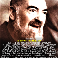 SEPT. 23: PRAYER CARD OF ST. PIO PIETRELCINA  (PADRE PIO).